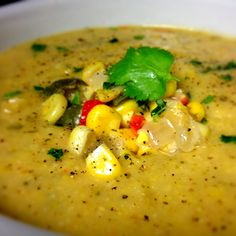 chicken corn chowder topped with avocado and tomato roasted corn ...