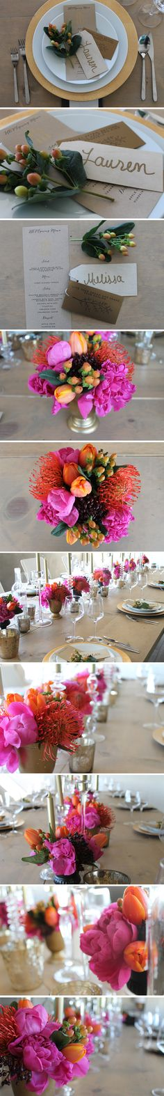 Bright holiday table. Peonies, tulips, coffee beans and pin cushions.