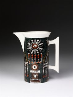 Jug from coffee set, 'Magic City' pattern, moulded earthenware with printed decoration, designed by Susan Williams-Ellis and made by Portmeirion Potteries Ltd, Stoke-on-Trent, ca. 1970