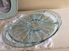 Beautiful Turquoise Blue Indiana Glass Hostess by TahoeTonyas