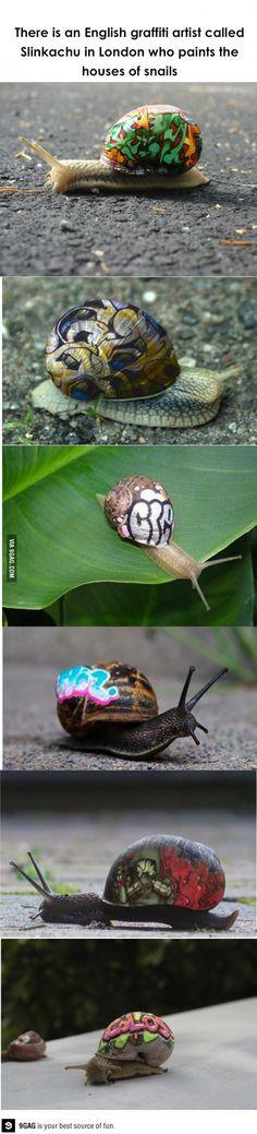 Slinkachu, tagging snails homes.