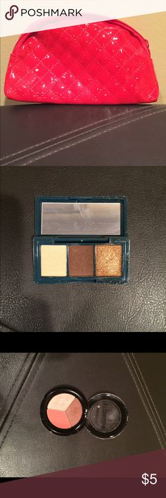 Makeup bag with unused products! Kokie pale blue nail polish, city color eyeshadow trio, illamasqua precision eyeliner, formula x red nail polish, peony nail polish Makeup