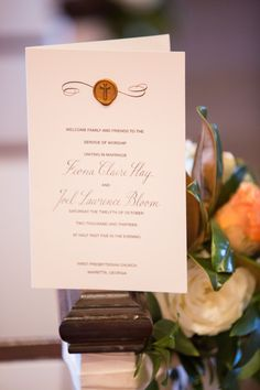 Hand Calligraphy Wedding #Program with Cross or #Monogram Wax Seal - #Elegant and, View more on the LINK: http://www.zeppy.io/product/gb/3/173650505/