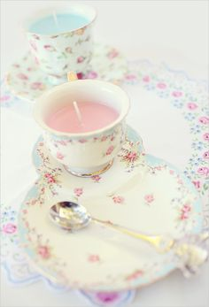 Pretty aqua & pink roses luncheon set ~ turned into a candle.