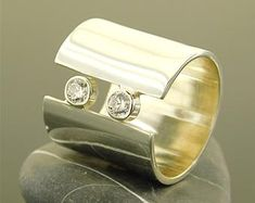Extra wide band ring Extraordinary ring Wide ring gold Very Gold Band Ring, Gold Bands, 925 Silver, Silver Rings, Wide Band Rings, Matte Gold, Swarovski Crystals, Gemstone Rings, Wedding Rings