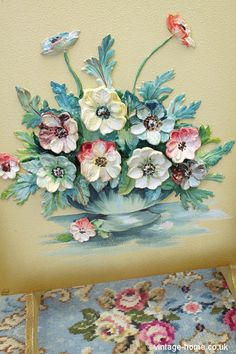 Vintage Home Shop - Pretty 1930s Barbola Anemones Fire Screen: www.vintage-home.co.uk