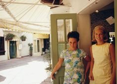 Lilly Pulitzer (left) with Mrs. Rodney Dillard in Palm Beach, Florida. Photographed by Slim Aarons in May 1970.