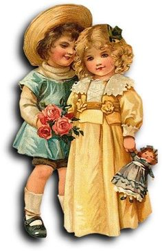 Victorian scrap: Boy and girl vignette