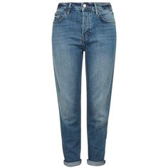 Topshop Moto 'Hayden' Boyfriend Jeans ($80) ❤ liked on Polyvore featuring jeans, pants, bottoms, boyfriend jeans, slouchy boyfriend jeans, cropped jeans, blue jeans and 5 pocket jeans