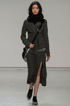 Tracy Reese | Fall 2014 - Incredible casual skirt suit. WOW. Styled beautifully. Messenger, flat oxfords, scarf. Gorgeous.