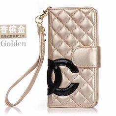 Designer iPhone 6 Wallet Case CC logo Book Cover Golden --- $31.90