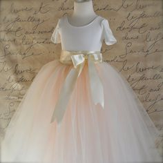 Flower Girl tulle skirt in ivory and antique pink. Full length. TutusChic Originals soft ivory blush effect