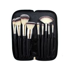 Flawlessly apply make up with this 9-piece vegan brush set that conveniently lies within a nice case. Keep brushes organized, clean, and ready-to-travel with this great set. Set includes: Flat foundat
