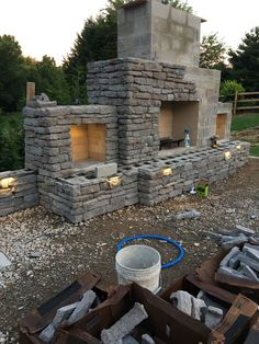 Outdoor Wood Burning Fireplace, Outdoor Fireplace Patio, Outdoor Stone Fireplaces, Outside Fireplace, Build A Fireplace, Outdoor Fireplace Designs, Backyard Fireplace, Fire Pit Backyard, Fireplace Ideas