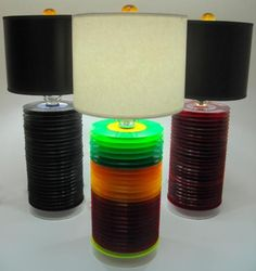 Here's another new spin on old records: record lamps. (GIN Art & Design's lamps made from vintage 45 rpm records.)