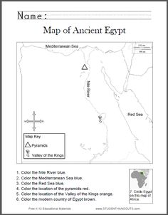 Map of Ancient Egypt Worksheet for Kids, Grades 1-6 | Student Handouts