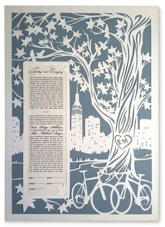 Papercut Ketubah: NYC Skyline with Bikes