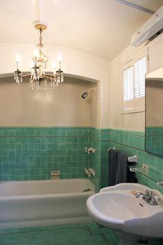 bathroom in a 1930s hacienda style home love the bluegreen