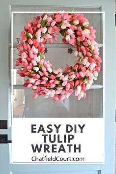 How to add a touch of spring to the front door with this easy DIY tulip wreath. Diy Spring Wreath, Spring Door Wreaths, Spring Crafts, Wreath Crafts, Diy Wreath, Tulip Wreath, Floral Wreath, Flower Wreaths, Diy Easter Decorations