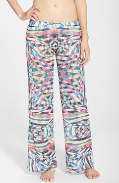 Becca 'Cozumel' Print Crinkled Chiffon Cover-Up Pants available at #Nordstrom