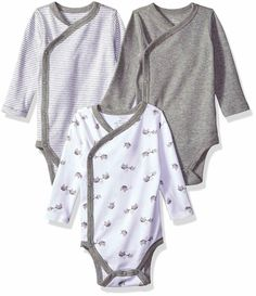 9000012c1 Moon And Back Baby Organic 3-Piece Long Sleeve Side Snap Bodysuits #fashion  #