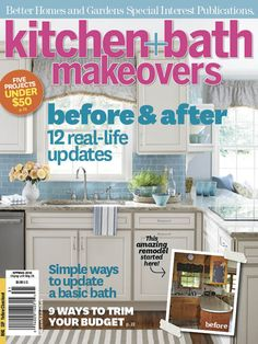 "The Spring 2013 issue of Kitchen + Bath Makeovers is coming to a newsstand near you any day now! The theme is ""Before and After,"" so today I thought I'd share some behind-the-scenes peeks of a few furniture makeovers from the issue.   When we produced the Budget Kitchen makeover last summer, we hit up [...] Kitchen Magic, Kitchen And Bath, Diy Kitchen, Kitchen Ideas, Kitchen Renovation Inspiration, New England Homes, Kitchen Upgrades, Kitchen On A Budget, Better Homes And Gardens"