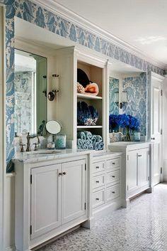 vanity configuration, instead of door at the end, linen press