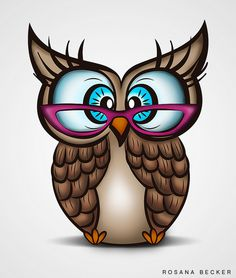 owl in glasses by Rosana Becker-- Super cute! Wal Art, Owl Clip Art, Paper Owls, Owl Cartoon, Owl Pictures, Owl Always Love You, Beautiful Owl, Owl Crafts, Wise Owl