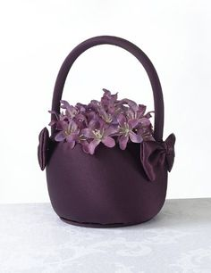Lillian Rose Satin Round Flower Basket, 7-Inch, Plum - Click image twice for more info - See a larger selection of wedding accessories at http://zweddingsupply.com/product-category/other-accessories-entourage/ - wedding, fashion, wedding ideas, wedding style, entourage .