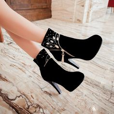 Free PP Womens Rhinestones Zip Ankle Boots Suede Cocktail Autumn Shoes Plus Size in Clothing, Shoes & Accessories, Women's Shoes, Boots High Heels Stilettos, High Heel Boots, Shoes Heels, Ankle Boots, Stiletto Boots, Kawaii Shoes, Leather Heeled Boots, Fresh Shoes, Cute Boots