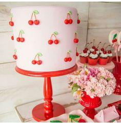 🍒🍒🍒 Fruit Birthday, Girl Birthday Themes, Little Girl Birthday, Birthday Parties, 2nd Birthday, Bolo Minnie, Harry Birthday, Cherry Baby, Cherries Jubilee