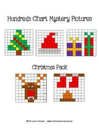 Christmas Math - Hundreds Chart Mystery Pictures. This is a set of 5 fun… Cross Stitch Cards, Cross Stitching, Cross Stitch Embroidery, 100 Chart, Hundreds Chart, Charts, Christmas Math, Christmas Cross, Christmas Tree