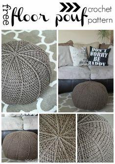 Pouf En Crochet, Crochet Diy, Crochet Cushions, Crochet Home Decor, Crochet Pillow, Crochet Crafts, Crochet Projects, Ravelry Crochet, Crochet Pouf Pattern
