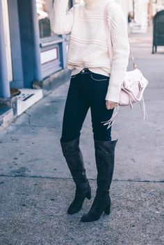 5 Cute and Comfortable Shoe Styles You Can Wear Day to Night | Jess Ann Kirby wears over the knee velvet boots