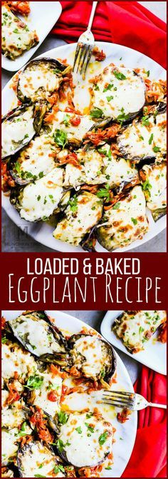 Loaded & Baked Eggplant Recipe – this easy and healthy side dish is loaded with sauté onion, grated carrots, chopped tomatoes, garlic and delicious mozzarella cheese.