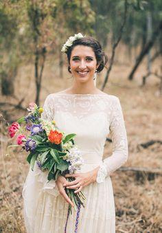ANNA + JAMES // #flowers #gown #lace #vintage #sleeves #hair #makeup #wedding #bride
