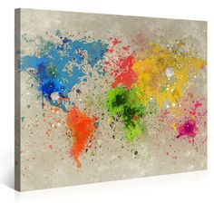 Large Canvas Print Wall Art - World Map Watercolour Explosion - 100x75cm - Modern Art XXL Giclee canvas print, Wall Art canvas picture - Canvas print stretched on a frame - XXL Canvas images in High Definition: Amazon.co.uk: Kitchen & Home