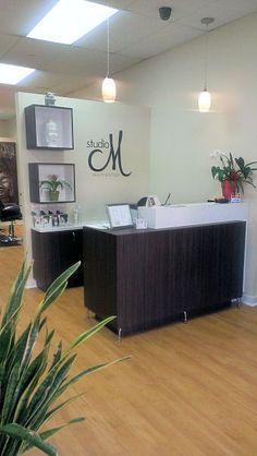 Studio m salon custom reception desk by salon interiors salon reception area, small reception desk Hair Salon Interior, Salon Interior Design, Home Salon, Salon Design, Tan Towels, Beauty Salon Decor, Spa Rooms, Salon Style, Design Furniture