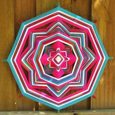 "18"" Mandala Woven Yarn Art - Ojo de Dios Wall Hanging - Free Mini Ojo"