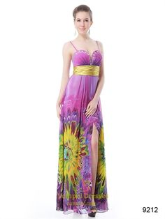 Pink Floral Prom Style Dresses,Long Floral Printed Prom Dresses By Vampal