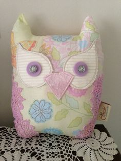 Owl cushion handmade mini pink crochet pastel by CoushiCreations, $20.00