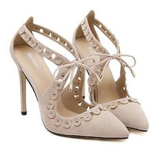 Popular Hollow High Stilettos Pumps Pointed Toe Sandals Lace Up Shoes Footwear