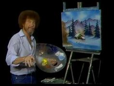 Bob Ross painting a hidden cabin tutorial. awesome!