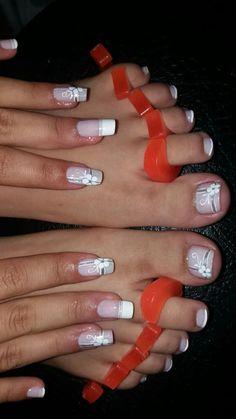by staci - - Pedicure Nail Designs, Manicure E Pedicure, Toe Nail Designs, Cute Toe Nails, Toe Nail Art, Nail Nail, French Nails, Gel Acrylic Nails, Diva Nails