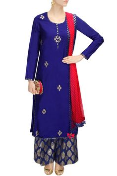 Amrita Thakur presents Royal blue and pink gota patti work kurta set available only at Pernia's Pop-Up Shop. Pakistani Dresses, Indian Dresses, Indian Outfits, Salwar Designs, Salwar Kameez, Kurti, Sharara, Salwar Suits, Anarkali