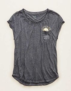 Aerie Pocket Graphic Tee , Navy | Aerie for American Eagle