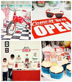 1950's Diner + Rock n Roll themed birthday party via Kara's Party Ideas KarasPartyIdeas.com Cake, decor, printables, favors, food, supplies, and more! #retroparty #retrodiner #1950sparty #vintagedinerparty #vintagediner #rocknroll (1)