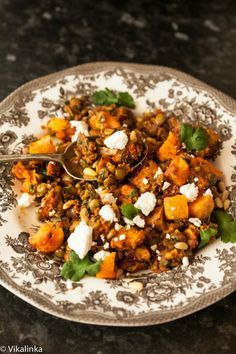 Spiced Lentils with Roasted Butternut Squash, Feta and Pine Nuts
