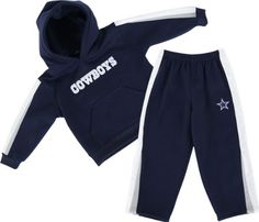 Dallas Cowboys Infant Dazzle Hooded Sweatshirt and Pant Set  https://allstarsportsfan.com/product/dallas-cowboys-infant-dazzle-hooded-sweatshirt-and-pant-set/  Fleece pant with embroidered logo on left leg Pullover fleece hood with pouch pocket keeps your little one warm 100% polyester is easy to clean no matter the mess