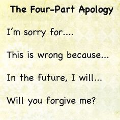 The Four Part Apology;  how to help your kids learn to apologize.  Best apology #parenting